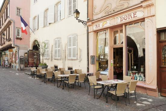 Cafe Au Croissant Dore, Rue Marchands, Colmar, Alsace, France, Europe-Markus Lange-Photographic Print
