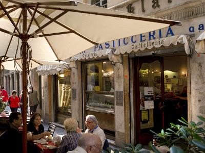 Cafe, Genoa Port, Liguria, Italy, Europe-Charles Bowman-Photographic Print