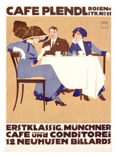 Café Plendl-Ludwig Hohlwein-Giclee Print
