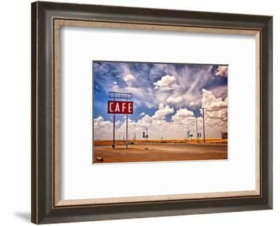 Cafe Sign Route 66 In Texas--Framed Art Print