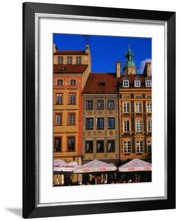 Cafes on Old Town Square, Warsaw, Poland-Krzysztof Dydynski-Framed Photographic Print