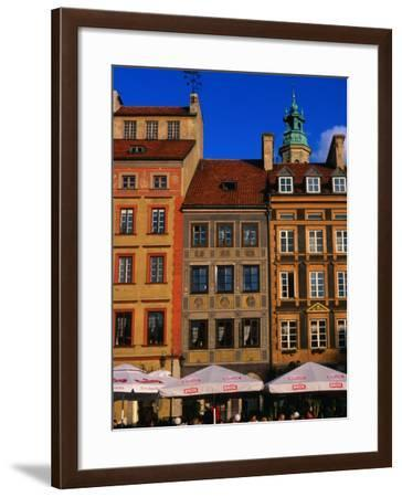 Cafes on Old Town Square, Warsaw, Poland-Krzysztof Dydynski-Framed Photographic Print