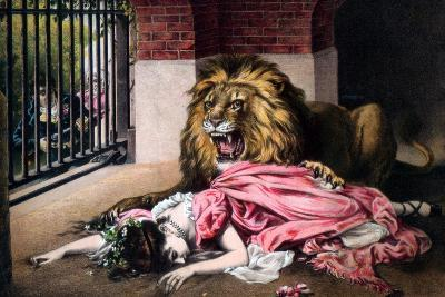 Caged Lion with Sleeping Woman, C19th Century--Giclee Print
