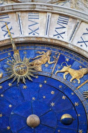 Detail of the Clock Face on the Torre Dell in the Piazza San Marco, San Marco, Venice