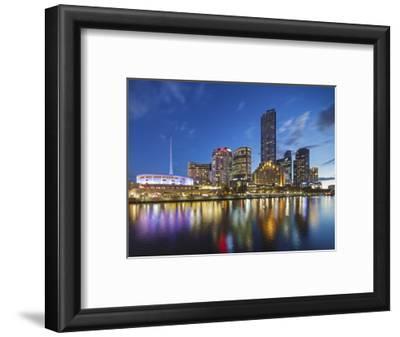 Melbourne Southbank Skyline, Eureka Tower and Hamer Hall over the Yarra River at Twilight