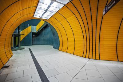 The Exit of the Odeanspaltz U-Bahn Station in Altstadt - Lehel, Munich, Bavaria, Germany.