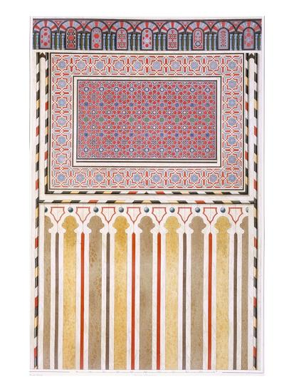 Cairo: Decoration of the El Bordeyny Mosque: Geometric Patterns of the Mosaic of the Mihrab-Emile Prisse d'Avennes-Giclee Print
