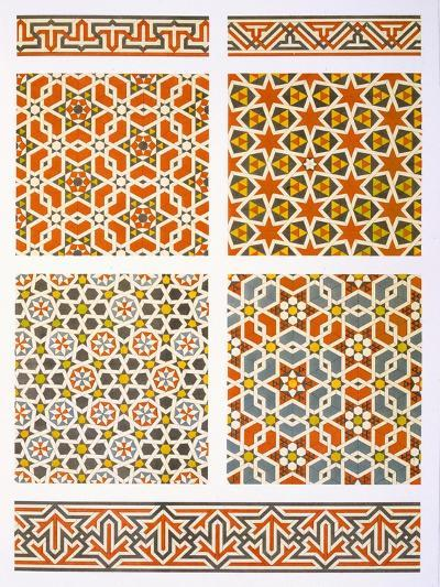 Cairo: Geometric Mural Decoration, 15th and 16th Century (Print)-Emile Prisse d'Avennes-Giclee Print