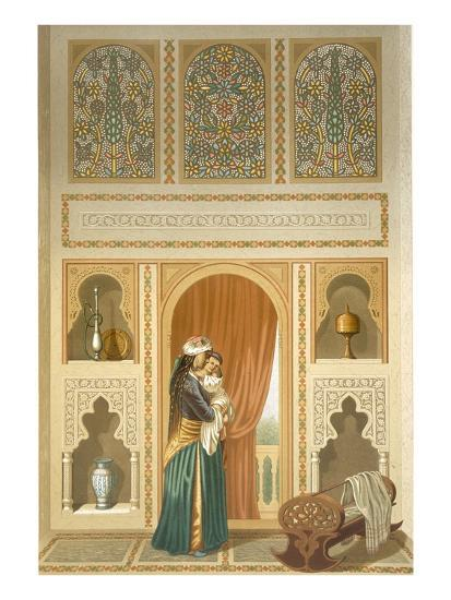 Cairo: Interior of the Domestic House of Sidi Youssef Adami: a Woman Standing in a Room-Emile Prisse d'Avennes-Giclee Print