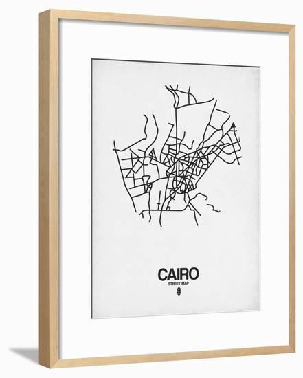 Cairo Street Map White-NaxArt-Framed Art Print