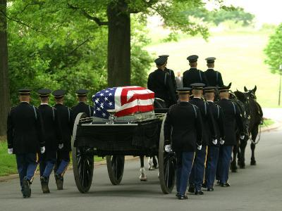 Caisson and Honor Guard on the Way to a Burial Site-Skip Brown-Photographic Print