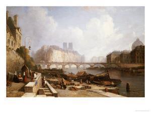 View of Ile De La Cite, Paris, from the Quai Du Louvre with the Pont Des Arts and the Pont Neuf by Caleb Robert Stanley