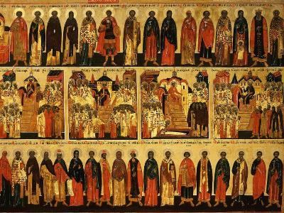 Calendar for July Showing Councils of Constantinople and Ephesus, Icon, Mid 18th Century--Giclee Print