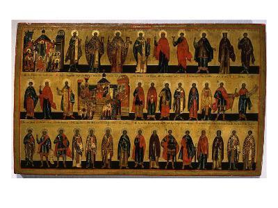 Calendar for October, Icon, Mid 18th Century Novgorod School Russian--Giclee Print