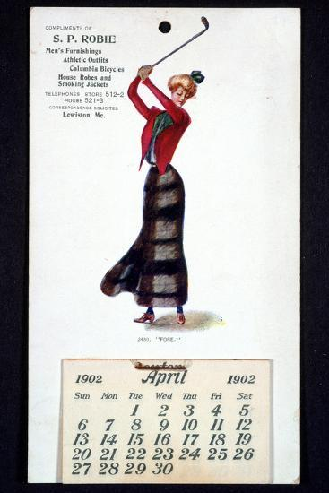 Calendar with golfing theme, American, 1902-Unknown-Giclee Print