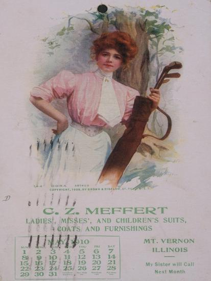 Calendar with golfing theme, American, 1910-Unknown-Giclee Print