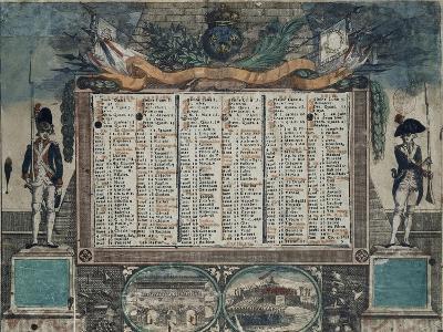 Calendrier Révolutionnaire de janvier à juin 1792--Giclee Print