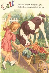 Calf, Little Girl with Vegetable Cart