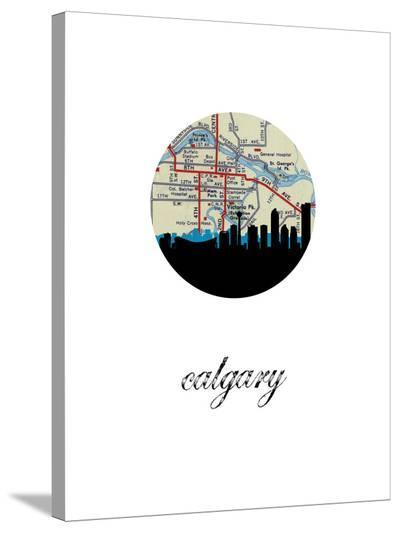Calgary Map Skyline-Paperfinch 0-Stretched Canvas Print