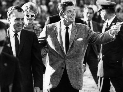 Calif Gov Ronald Reagan Escorts Pres-Elect Richard Nixon across Field at Halftime of Rose Bowl Game--Photo