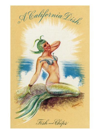 California - A Californian Dish, Fish and Chips; A Pretty Mermaid-Lantern Press-Art Print