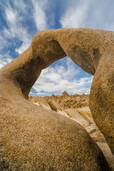 California, Alabama Hills Recreation Area. Mobius Arch with Clouds-Judith Zimmerman-Photographic Print
