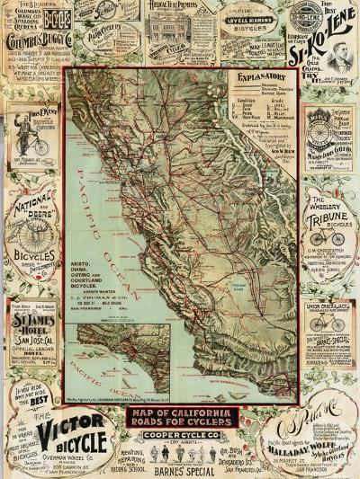 California Bicycle Map-Marcus Jules-Giclee Print