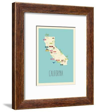 California Blue Map-Kindred Sol Collective-Framed Art Print