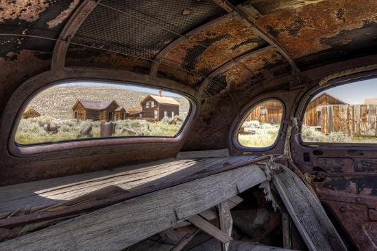 California, Bodie State Historic Park. Inside Abandoned Car Looking Out-Jaynes Gallery-Photographic Print