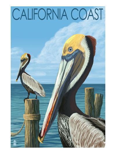 California Coast - Pelicans-Lantern Press-Art Print