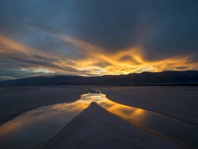 California. Death Valley National Park. Sunset with Reflections, Cotton Ball Basin-Judith Zimmerman-Photographic Print