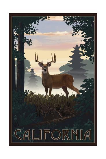 California - Deer and Sunrise-Lantern Press-Art Print