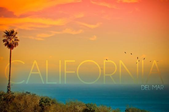 California Del Mar - Sunset and Birds-Lantern Press-Wall Mural