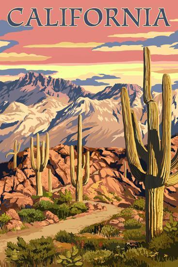 California - Desert Trail Scene-Lantern Press-Art Print