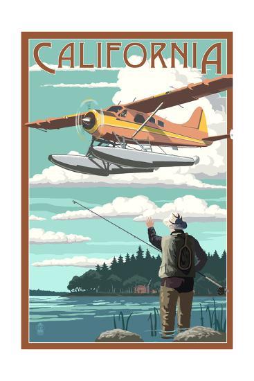 California - Float Plane and Fisherman-Lantern Press-Art Print
