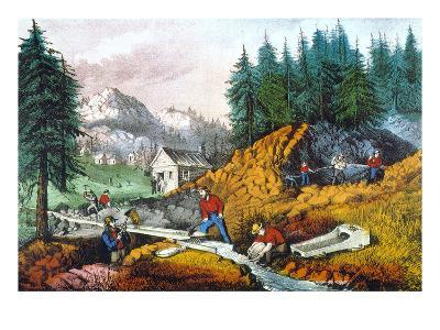 California: Gold Mining-Currier & Ives-Giclee Print