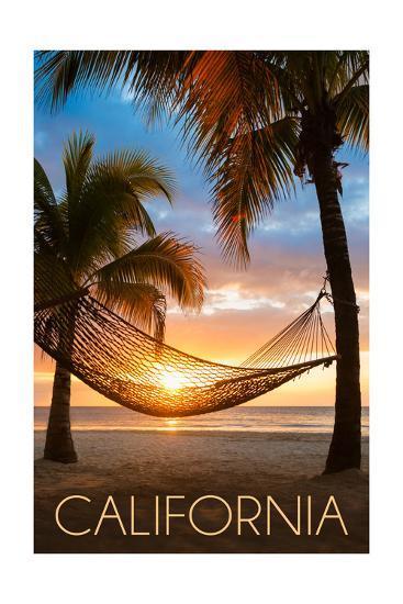 California - Hammock and Sunset-Lantern Press-Art Print