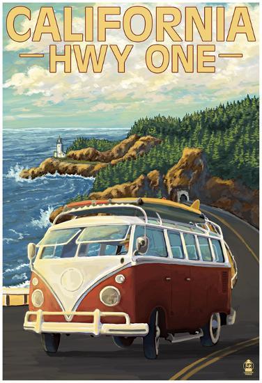 California Highway One Coast Vw Van--Poster