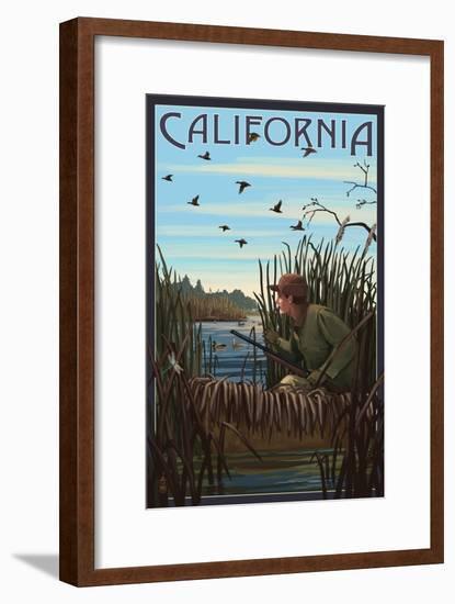 California - Hunter and Lake-Lantern Press-Framed Art Print