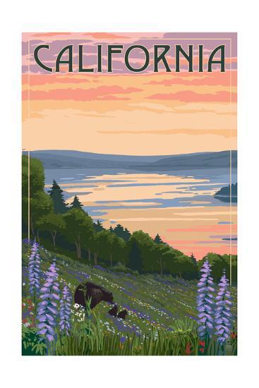 California - Lake and Bear Family-Lantern Press-Art Print