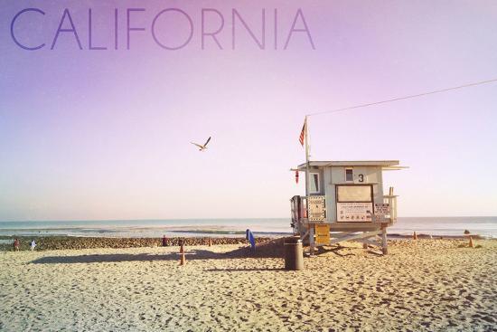 California - Lifeguard Shack Sunrise-Lantern Press-Wall Mural