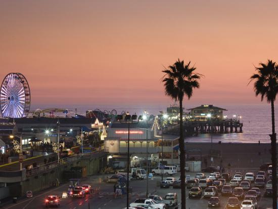 California, Los Angeles, Santa Monica, Santa Monica Pier, Dusk, USA-Walter Bibikow-Photographic Print