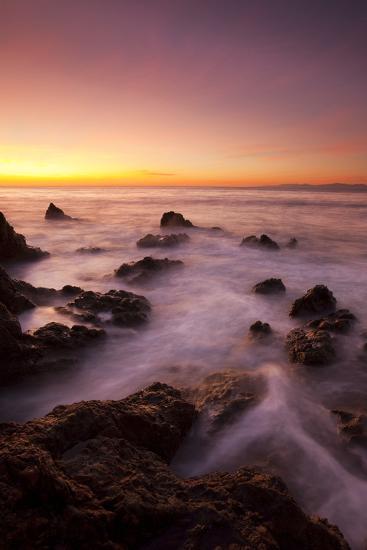 California, Malibu, Sunset over Rocky Ocean Coastline-Design Pics Inc-Photographic Print