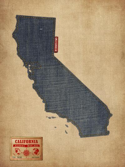California Map Denim Jeans Style-Michael Tompsett-Art Print