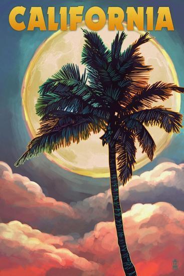 California - Palm and Moon-Lantern Press-Art Print