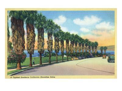 California - Palms Along a Southern Californian Shoreline Drive-Lantern Press-Art Print