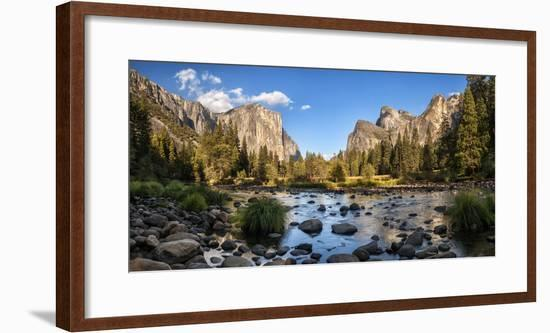 California, Panoramic View of Merced River, El Capitan, and Cathedral Rocks in Yosemite Valley-Ann Collins-Framed Photographic Print