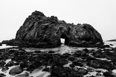 California Pfeiffer Beach in Big Sur State Park Dramatic Black and White Rocks and Waves-holbox-Photographic Print