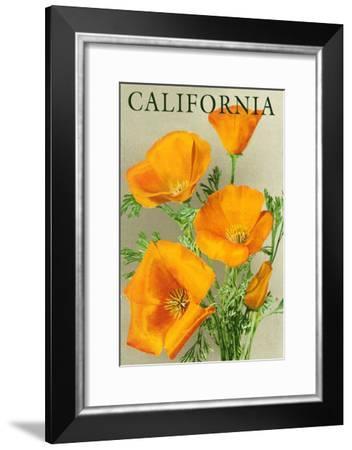 California - Poppies-Lantern Press-Framed Art Print