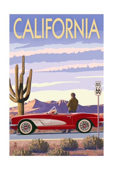 California - Route 66 - Corvette-Lantern Press-Art Print